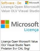Licença Open Microsoft Value OLV Visual Studio Team Fndation Svr CAL Sngl Software Assurance 1 License No Level Additional Product MPN Competency Required User (Figura somente ilustrativa, não representa o produto real)