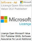 Licença Open Microsoft Value OLV Publisher SNGL Software Assurance No Level Additional Product 2 Year Acquired year 2  (Figura somente ilustrativa, não representa o produto real)
