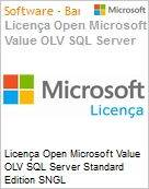 Licença Open Microsoft Value OLV SQL Server Standard Edition SNGL License/Software Assurance Pack [LicSAPk] No Level Additional Product 1 Year Acquired year 3 (Figura somente ilustrativa, não representa o produto real)