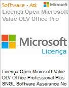 Licença Open Microsoft Value OLV Office Professional Plus SNGL Software Assurance No Level Additional Product 1 Year Acquired year 2  (Figura somente ilustrativa, não representa o produto real)