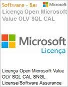 Licença Open Microsoft Value OLV SQL CAL SGNL License/Software Assurance Pack [LicSAPk] No Level Additional Product CAL User 1 Year Acquired year 3 (Figura somente ilustrativa, não representa o produto real)