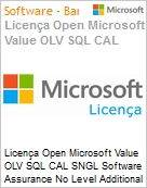 Licença Open Microsoft Value OLV SQL CAL SNGL Software Assurance No Level Additional Product Device CAL 1 Year Acquired year 2  (Figura somente ilustrativa, não representa o produto real)