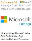 Licença Open Microsoft Value OLV Outlook Mac Sngl License/Software Assurance Pack [LicSAPk] 1 License No Level Additional Product 2 Year Acquired year 2 (Figura somente ilustrativa, não representa o produto real)