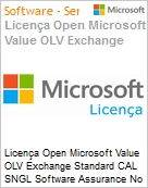 Licença Open Microsoft Value OLV Exchange Standard CAL SNGL Software Assurance No Level Additional Product User CAL User CAL 1 Year Acquired year 1 (Figura somente ilustrativa, não representa o produto real)