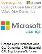 Licen�a Open Microsoft Value OLV Dynamics CRM Essential CAL Sngl License/Software Assurance Pack [LicSAPk] 1 License No Level Additional Product Device CAL Device CAL 3 Ye (Figura somente ilustrativa, n�o representa o produto real)