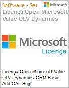 Licença Open Microsoft Value OLV Dynamics CRM Basic Add CAL Sngl License/Software Assurance Pack [LicSAPk] 1 License No Level Additional Product Device CAL Device CAL 2 Ye (Figura somente ilustrativa, não representa o produto real)