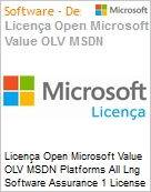 Licen�a Open Microsoft Value OLV MSDN Platforms All Lng Software Assurance 1 License No Level Additional Product 1 Year Acquired year 1  (Figura somente ilustrativa, n�o representa o produto real)