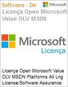 Licença Open Microsoft Value OLV MSDN Platforms All Lng License/Software Assurance Pack [LicSAPk] 1 License No Level Additional Product 1 Year Acquired year 3 (Figura somente ilustrativa, não representa o produto real)