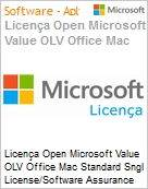 Licença Open Microsoft Value OLV Office Mac Standard SGNL License/Software Assurance Pack [LicSAPk] 1 License No Level Additional Product 1 Year Acquired year 1 (Figura somente ilustrativa, não representa o produto real)