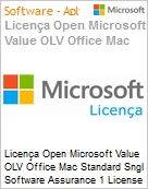 Licen�a Open Microsoft Value OLV Office Mac Standard Sngl Software Assurance 1 License No Level Additional Product 1 Year Acquired year 2  (Figura somente ilustrativa, n�o representa o produto real)