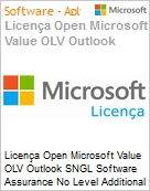 Licença Open Microsoft Value OLV Outlook SNGL Software Assurance No Level Additional Product 1 Year Acquired year 2  (Figura somente ilustrativa, não representa o produto real)