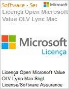 Licença Open Microsoft Value OLV Lync Mac Sngl License/Software Assurance Pack [LicSAPk] 1 License No Level Additional Product 1 Year Acquired year 1 (Figura somente ilustrativa, não representa o produto real)