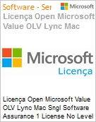 Licença Open Microsoft Value OLV Lync Mac Sngl Software Assurance 1 License No Level Additional Product 1 Year Acquired year 1  (Figura somente ilustrativa, não representa o produto real)