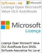 Licença Open Microsoft Value OLV AutoRoute Euro SNGL Software Assurance No Level Additional Product 1 Year Acquired year 1  (Figura somente ilustrativa, não representa o produto real)