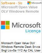 Licen�a Open Microsoft Value OLV Windows Remote Desk Srvcs SNGL [LicSAPk] 1Y2 Ap CAL User  (Figura somente ilustrativa, n�o representa o produto real)
