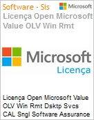 Licença Open Microsoft Value OLV Win Rmt Dsktp Svcs CAL SGNL Software Assurance 1 License No Level Additional Product CAL User CAL User 1 Year Acquired year 2 (Figura somente ilustrativa, não representa o produto real)