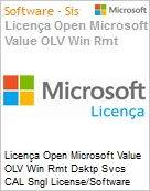 Licença Open Microsoft Value OLV Win Rmt Dsktp Svcs CAL SGNL License/Software Assurance Pack [LicSAPk] 1 License No Level Additional Product CAL User CAL User 1 Year Acqui (Figura somente ilustrativa, não representa o produto real)
