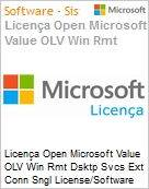 Licença Open Microsoft Value OLV Win Rmt Dsktp Svcs Ext Conn Sngl License/Software Assurance Pack [LicSAPk] 1 License No Level Additional Product 2 Year Acquired year 2 (Figura somente ilustrativa, não representa o produto real)