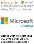 Licen�a Open Microsoft Value OLV Lync Server Std CAL Sngl Software Assurance 1 License No Level Additional Product Device CAL Device CAL 1 Year Acquired year 3 (Figura somente ilustrativa, n�o representa o produto real)