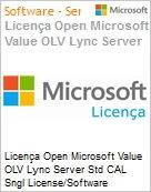 Licença Open Microsoft Value OLV Lync Server Std CAL Sngl License/Software Assurance Pack [LicSAPk] 1 License No Level Additional Product Device CAL Device CAL 1 Year Acqu (Figura somente ilustrativa, não representa o produto real)