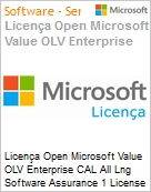Licença Open Microsoft Value OLV Enterprise CAL All Lng Software Assurance 1 License No Level Enterprise Device CAL Device CAL w/ Services 1 Year Acquired year 1 (Figura somente ilustrativa, não representa o produto real)