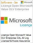 Licen�a Open Microsoft Value OLV Enterprise CAL All Lng License/Software Assurance Pack [LicSAPk] 1 License No Level Platform User CAL User CAL w/ Services 1 Year Acquired (Figura somente ilustrativa, n�o representa o produto real)