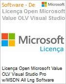 Licença Open Microsoft Value OLV Visual Studio Pro w/MSDN All Lng Software Assurance 1 License No Level Additional Product 1 Year Acquired year 2 (Figura somente ilustrativa, não representa o produto real)