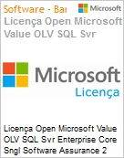 Licença Open Microsoft Value OLV SQL Svr Enterprise Core Sngl Software Assurance 2 Licenses No Level Additional Product Core License 2 Year Acquired year 2 (Figura somente ilustrativa, não representa o produto real)