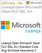 Licença Open Microsoft Value OLV SQL Svr Standard Core Sngl Software Assurance 2 Licenses No Level Additional Product Core License 1 Year Acquired year 3 (Figura somente ilustrativa, não representa o produto real)