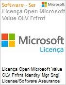 Licença Open Microsoft Value OLV Frfrnt Identity Mgr Sngl License/Software Assurance Pack [LicSAPk] 1 License No Level Additional Product 1 Year Acquired year 1 (Figura somente ilustrativa, não representa o produto real)