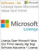 Licen�a Open Microsoft Value OLV Frfrnt Identity Mgr Sngl Software Assurance 1 License No Level Additional Product 3 Year Acquired year 1  (Figura somente ilustrativa, n�o representa o produto real)