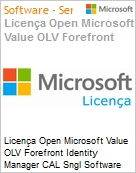 Licença Open Microsoft Value OLV Forefront Identity Manager CAL Sngl Software Assurance 1 License No Level Additional Product User CAL User CAL 1 Year Acquired y (Figura somente ilustrativa, não representa o produto real)