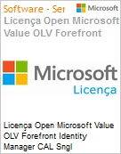 Licen�a Open Microsoft Value OLV Forefront Identity Manager CAL Sngl License/Software Assurance Pack [LicSAPk] 1 License No Level Additional Product User CAL User CAL 1 Ye (Figura somente ilustrativa, n�o representa o produto real)