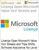 Licença Open Microsoft Value OLV Streets and Trips SNGL Software Assurance No Level Additional Product 1 Year Acquired year 3  (Figura somente ilustrativa, não representa o produto real)