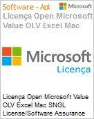 Licen�a Open Microsoft Value OLV Excel Mac SNGL License/Software Assurance Pack [LicSAPk] No Level Additional Product 1 Year Acquired year 2  (Figura somente ilustrativa, n�o representa o produto real)