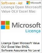 Licen�a Open Microsoft Value OLV Excel Mac SNGL Software Assurance No Level Additional Product 1 Year Acquired year 2  (Figura somente ilustrativa, n�o representa o produto real)