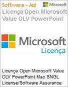Licença Open Microsoft Value OLV PowerPoint Mac SGNL License/Software Assurance Pack [LicSAPk] No Level Additional Product 1 Year Acquired year 3 (Figura somente ilustrativa, não representa o produto real)