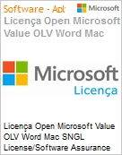 Licença Open Microsoft Value OLV Word Mac SNGL License/Software Assurance Pack [LicSAPk] No Level Additional Product 1 Year Acquired year 3  (Figura somente ilustrativa, não representa o produto real)