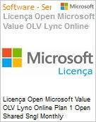 Licença mensal Microsoft Value OLV Lync Online Plan 1 Open Shared Sngl Monthly Subscriptions-Volume License 1 License No Level Additional Product 1 Month (Figura somente ilustrativa, não representa o produto real)