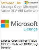 Licença mensal Microsoft Value OLV VDI Suite w/o MDOP Sngl Monthly Subscriptions-Volume License 1 License No Level Additional Product Per Device 1 Month (Figura somente ilustrativa, não representa o produto real)