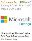 Licença Open Microsoft Value OLV Intel Core infrastructure Svr Ste Datactr SGNL License/Software Assurance Pack [LicSAPk] 1 License No Level Additional Product 2 PROC 3 Year Acq (Figura somente ilustrativa, não representa o produto real)
