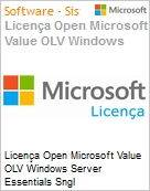 Licença Open Microsoft Value OLV Windows Server Essentials SGNL License/Software Assurance Pack [LicSAPk] 1 License No Level Additional Product 1 Year Acquired year 3 (Figura somente ilustrativa, não representa o produto real)