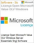 Licença Open Microsoft Value OLV Windows Server Essentials SGNL Software Assurance 1 License No Level Additional Product 1 Year Acquired year 3 (Figura somente ilustrativa, não representa o produto real)