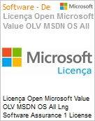 Licença Open Microsoft Value OLV MSDN OS All Lng Software Assurance 1 License No Level Additional Product 1 Year Acquired year 1  (Figura somente ilustrativa, não representa o produto real)