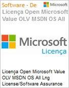 Licença Open Microsoft Value OLV MSDN OS All Lng License/Software Assurance Pack [LicSAPk] 1 License No Level Additional Product 1 Year Acquired year 2 (Figura somente ilustrativa, não representa o produto real)