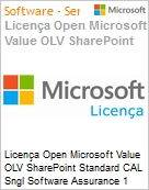 Licença Open Microsoft Value OLV SharePoint Standard CAL Sngl Software Assurance 1 License No Level Additional Product User CAL User CAL 1 Year Acquired year 1 (Figura somente ilustrativa, não representa o produto real)