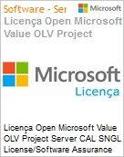 Licença Open Microsoft Value OLV Project Server CAL SGNL License/Software Assurance Pack [LicSAPk] No Level Additional Product CAL User 3 Year Acquired year 1 (Figura somente ilustrativa, não representa o produto real)