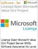 Licença Open Microsoft Value OLV Project Server SGNL Software Assurance No Level Additional Product 1 Year Acquired year 3  (Figura somente ilustrativa, não representa o produto real)