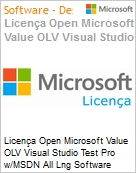 Licença Open Microsoft Value OLV Visual Studio Test Pro w/MSDN All Lng Software Assurance 1 License No Level Additional Product 1 Year Acquired year 1 (Figura somente ilustrativa, não representa o produto real)