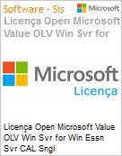 Licen�a Open Microsoft Value OLV Win Svr for Win Essn Svr CAL Sngl License/Software Assurance Pack [LicSAPk] 5 Licenses No Level Additional Product User CAL User CAL 1 Yea (Figura somente ilustrativa, n�o representa o produto real)